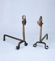 Picture of Natural Wrought Iron Blacksmith Maple Leaf Andirons