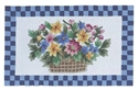 Picture of Blue Flower Basket Wool Hearth Rug